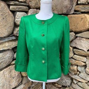 Tahari Emerald Green Blazer Gold Buttons Size 8